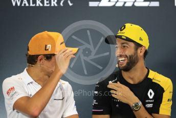 World © Octane Photographic Ltd. Formula 1 – Singapore GP. FIA Drivers Press Conference. Renault Sport F1 Team – Daniel Ricciardo and McLaren – Lando Norris. Marina Bay Street Circuit, Singapore. Thursday 19th September 2019.