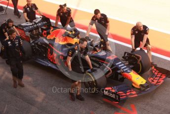 World © Octane Photographic Ltd. Formula 1 – Spanish In-season testing. Aston Martin Red Bull Racing RB15 – Pierre Gasly car gets pushed down the pit lane after stopping on the pit straight. Circuit de Barcelona Catalunya, Spain. Tuesday 14th May 2019.