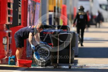 World © Octane Photographic Ltd. Formula 1 – Spanish In-season testing. Aston Martin Red Bull Racing RB15 tyre wash down. Circuit de Barcelona Catalunya, Spain. Wednesday 15th May 2019.