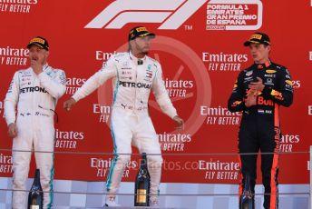 World © Octane Photographic Ltd. Formula 1 – Spanish GP. Podium. Mercedes AMG Petronas Motorsport AMG F1 W10 EQ Power+ - Lewis Hamilton and Valtteri Bottas with Aston Martin Red Bull Racing RB15 – Max Verstappen. Circuit de Barcelona Catalunya, Spain. Sunday 12th May 2019.