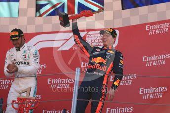 World © Octane Photographic Ltd. Formula 1 – Spanish GP. Podium. Aston Martin Red Bull Racing RB15 – Max Verstappen and Mercedes AMG Petronas Motorsport AMG F1 W10 EQ Power+ - Lewis Hamilton. Circuit de Barcelona Catalunya, Spain. Sunday 12th May 2019.