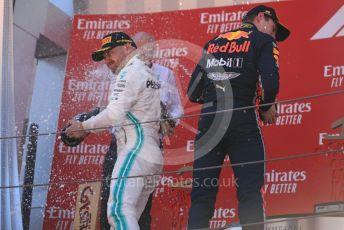 World © Octane Photographic Ltd. Formula 1 – Spanish GP. Podium. Mercedes AMG Petronas Motorsport AMG F1 W10 EQ Power+ - Valtteri Bottas and Aston Martin Red Bull Racing RB15 – Max Verstappen. Circuit de Barcelona Catalunya, Spain. Sunday 12th May 2019.