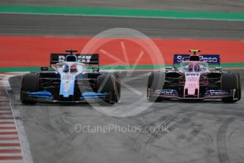 World © Octane Photographic Ltd. Formula 1 – Spanish GP. Practice 3. SportPesa Racing Point RP19 – Lance Stroll and ROKiT Williams Racing – George Russell . Circuit de Barcelona Catalunya, Spain. Saturday 11th May 2019.