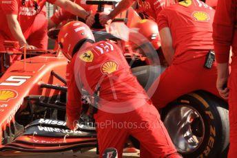 World © Octane Photographic Ltd. Formula 1 – Spanish GP. Paddock. Scuderia Ferrari pit stop practice. Circuit de Barcelona Catalunya, Spain. Saturday 11thth May 2019.