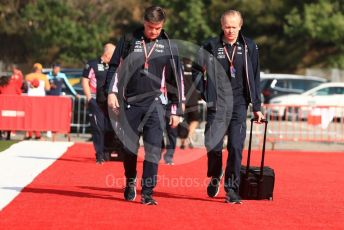 World © Octane Photographic Ltd. Formula 1 - Spanish GP. Paddock. Andrew (Andy) Green - Technical Director at SportPesa Racing Point and Andy Stevenson – Sporting Director at SportPesa Racing Point. Circuit de Barcelona Catalunya, Spain. Saturday 11th May 2019.