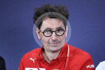 World © Octane Photographic Ltd. Formula 1 – Spanish GP. FIA Team Press Conference. Mattia Binotto – Team Principal of Scuderia Ferrari. . Circuit de Barcelona Catalunya, Spain. Friday 10th May 2019.
