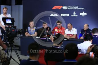 World © Octane Photographic Ltd. Formula 1 – Spanish GP. FIA Team Press Conference. Mario Isola – Pirelli Head of Car Racing, Guenther Steiner - Team Principal of Rich Energy Haas F1 Team, Mattia Binotto – Team Principal of Scuderia Ferrari, Frederic Vasseur – Team Principal and CEO of Sauber Motorsport AG and Franz Tost – Team Principal of Scuderia Toro Rosso. Circuit de Barcelona Catalunya, Spain. Friday 10th May 2019.