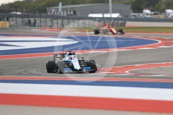 World © Octane Photographic Ltd. Formula 1 – United States GP - Practice 2. ROKiT Williams Racing FW 42 – George Russell and Scuderia Ferrari SF90 – Charles Leclerc. Circuit of the Americas (COTA), Austin, Texas, USA. Friday 1st November 2019.