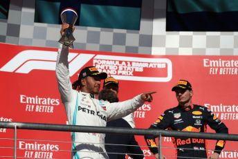 World © Octane Photographic Ltd. Formula 1 – United States GP - Podium. Mercedes AMG Petronas Motorsport AMG F1 W10 EQ Power+ - Lewis Hamilton  with Aston Martin Red Bull Racing RB15 – Max Verstappen. Circuit of the Americas (COTA), Austin, Texas, USA. Sunday 3rd November 2019.