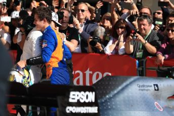 World © Octane Photographic Ltd. Formula 1 – United States GP - Parc Ferme. McLaren MCL34 – Lando Norris congratulates World Champion Lewis Hamilton. Circuit of the Americas (COTA), Austin, Texas, USA. Sunday 3rd November 2019.