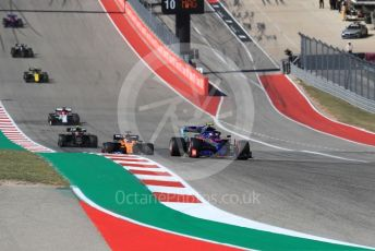 World © Octane Photographic Ltd. Formula 1 – United States GP - Race. Scuderia Toro Rosso STR14 – Pierre Gasly and McLaren MCL34 – Carlos Sainz. Circuit of the Americas (COTA), Austin, Texas, USA. Sunday 3rd November 2019.