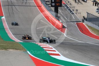 World © Octane Photographic Ltd. Formula 1 – United States GP - Race. Mercedes AMG Petronas Motorsport AMG F1 W10 EQ Power+ - Valtteri Bottas, Aston Martin Red Bull Racing RB15 – Max Verstappen and Lewis Hamilton. Circuit of the Americas (COTA), Austin, Texas, USA. Sunday 3rd November 2019.