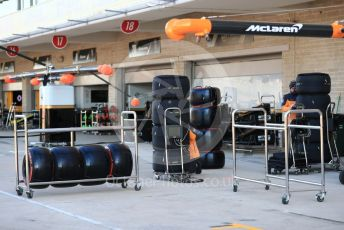 World © Octane Photographic Ltd. Formula 1 – United States GP - Pit Lane. McLaren MCL34 tyres. Circuit of the Americas (COTA), Austin, Texas, USA. Thursday 31st October 2019.