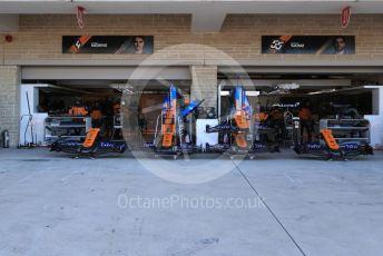 World © Octane Photographic Ltd. Formula 1 – United States GP - Pit Lane. McLaren MCL34 – Carlos Sainz and Lando Norris. Circuit of the Americas (COTA), Austin, Texas, USA. Thursday 31st October 2019.