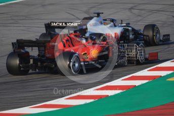 World © Octane Photographic Ltd. Formula 1 – F1 Pre-season Test 1 - Day 3. Haas F1 Team VF20 – Romain Grosjean and Scuderia Ferrari SF1000 – Sebastian Vettel. Circuit de Barcelona-Catalunya, Spain. Friday 21st February 2020.