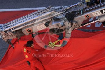 World © Octane Photographic Ltd. Formula 1 – F1 Pre-season Test 1 - Day 3. Scuderia Ferrari SF1000 of Sebastian Vettel is returned to the pits after stopping on track. Circuit de Barcelona-Catalunya, Spain. Friday 21st February 2020.