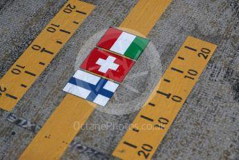 World © Octane Photographic Ltd. Formula 1 – F1 Pre-season Test 2 - Day 1. Alfa Romeo Racing Orlen pit box flags of their drivers. Circuit de Barcelona-Catalunya, Spain. Wednesday 26th February 2020.