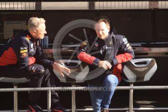 World © Octane Photographic Ltd. Formula 1 – F1 Pre-season Test 2 - Day 2. Paul Monaghan - Chief Engineer of Red Bull Racing and Christian Horner - Team Principal of Red Bull Racing. Circuit de Barcelona-Catalunya, Spain. Thursday 27th February 2020.