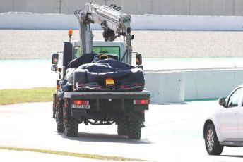 World © Octane Photographic Ltd. Formula 1 – F1 Pre-season Test 2 - Day 2. Aston Martin Red Bull Racing RB16 – Max Verstappen's car is returned to the pitlane after spinning off into the gravel. Circuit de Barcelona-Catalunya, Spain. Thursday 27th February 2020.