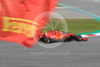 World © Octane Photographic Ltd. Formula 1 – F1 Pre-season Test 2 - Day 3. Scuderia Ferrari SF1000 – Charles Leclerc with Ferrari flag. Circuit de Barcelona-Catalunya, Spain. Friday 28th February 2020.