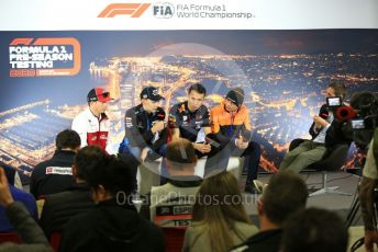 World © Octane Photographic Ltd. Formula 1 – F1 Pre-season Test 1 - Day 1. FIA Press Conference. Aston Martin Red Bull Racing – Alexander Albon, Alfa Romeo Racing Orlen – Kimi Raikkonen, ROKiT Williams Racing – George Russell and McLaren – Lando Norris. Circuit de Barcelona-Catalunya, Spain. Wednesday 19th February 2020.