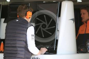 World © Octane Photographic Ltd. Formula 1 – F1 Pre-season Test 1 - Day 1. McLaren MCL35 garage. Circuit de Barcelona-Catalunya, Spain. Wednesday 19th February 2020.