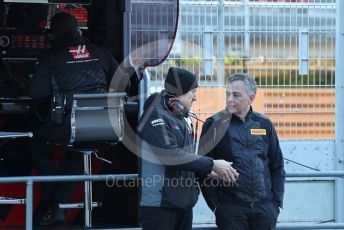 World © Octane Photographic Ltd. Formula 1 – F1 Pre-season Test 1 - Day 1. Guenther Steiner - Team Principal of Haas F1 Team and Mario Isola – Pirelli Head of Car Racing. Circuit de Barcelona-Catalunya, Spain. Wednesday 19th February 2020.