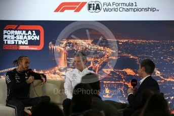 World © Octane Photographic Ltd. Formula 1 – F1 Pre-season Test 1 - Day 2 - Press Conference. Mercedes AMG Petronas F1 W11 EQ Performance - Lewis Hamilton and James Allison - Technical Director of Mercedes - AMG Petronas Motorsport. Circuit de Barcelona-Catalunya, Spain. Thursday 20th February 2020.