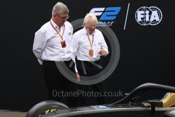 World © Octane Photographic Ltd. Formula 1 - Italian Grand Prix – FIA Formula 2 2018 Car Launch - Ross Brawn and Charlie Whiting. Monza, Italy. Thursday 31st August 2017. Digital Ref: 1936LB1D0419