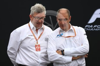 World © Octane Photographic Ltd. Formula 1 - Italian Grand Prix – FIA Formula 2 2018 Car Launch - Ross Brawn and Bruno Michel. Monza, Italy. Thursday 31st August 2017. Digital Ref: 1936LB1D0438