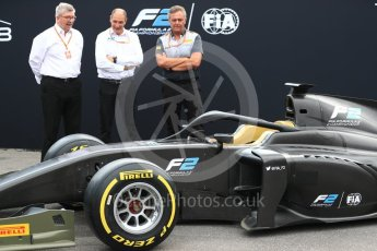 World © Octane Photographic Ltd. Formula 1 - Italian Grand Prix – FIA Formula 2 2018 Car Launch - Ross Brawn, Bruno Michel and Mario Isola. Monza, Italy. Thursday 31st August 2017. Digital Ref: 1936LB1D0445