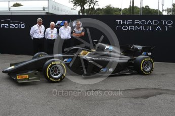 World © Octane Photographic Ltd. Formula 1 - Italian Grand Prix – FIA Formula 2 2018 Car Launch - Ross Brawn, Mario Isola, Charlie Whiting and Dider Perrin. Monza, Italy. Thursday 31st August 2017. Digital Ref: 1936LB2D7683