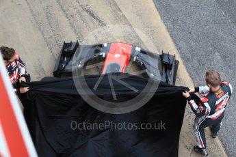 World © Octane Photographic Ltd. Formula 1 winter test 1, Haas F1 Team VF-17 physical unveil - Romain Grosjean and Kevin Magnussen, Circuit de Barcelona-Catalunya. Monday 27th February 2017. Digital Ref : 1779CB1D5906