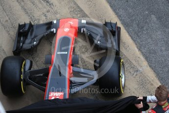 World © Octane Photographic Ltd. Formula 1 winter test 1, Haas F1 Team VF-17 physical unveil , Circuit de Barcelona-Catalunya. Monday 27th February 2017. Digital Ref : 1779CB1D5919