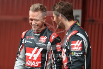 World © Octane Photographic Ltd. Formula 1 winter test 1, Haas F1 Team VF-17 physical unveil - Romain Grosjean and Kevin Magnussen, Circuit de Barcelona-Catalunya. Monday 27th February 2017. Digital Ref : 1779LB1D8114