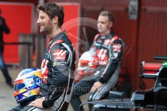 World © Octane Photographic Ltd. Formula 1 winter test 1, Haas F1 Team VF-17 physical unveil - Romain Grosjean, Circuit de Barcelona-Catalunya. Monday 27th February 2017. Digital Ref : 1779LB1D8172