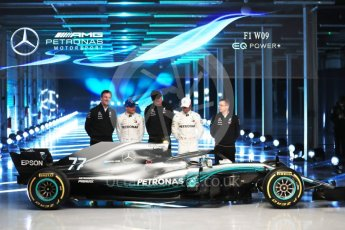 World © Octane Photographic Ltd. Formula 1 –. Mercedes AMG Petronas Motorsport AMG F1 W09 EQ Power+ launch, Lewis Hamilton, Valtteri Bottas, Toto Wolff (Team Principal and CEO), Andy Cowell (Managing Director of Mercedes AMG High Performance Powertrains) and James Allison (Technical Director) – Silverstone, UK. Thursday 22nd February 2018. Digital Ref :2020LB1D8200