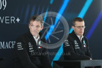 World © Octane Photographic Ltd. Formula 1 –. Mercedes AMG Petronas Motorsport AMG F1 W09 EQ Power+ launch, James Allison (Technical Director) and Andy Cowell (Managing Director of Mercedes AMG High Performance Powertrains) – Silverstone, UK. Thursday 22nd February 2018. Digital Ref : 2020LB1D8268
