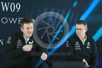 World © Octane Photographic Ltd. Formula 1 –. Mercedes AMG Petronas Motorsport AMG F1 W09 EQ Power+ launch, James Allison (Technical Director) and Andy Cowell (Managing Director of Mercedes AMG High Performance Powertrains) – Silverstone, UK. Thursday 22nd February 2018. Digital Ref : 2020LB1D8296