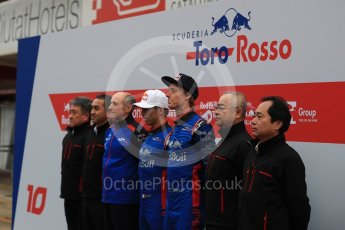 World © Octane Photographic Ltd. Formula 1 – Winter Test 1. Scuderia Toro Rosso STR13 Car Launch with Brendon Hartley, Pierre Gasly, Franz Tost and Honda representatives. Circuit de Barcelona-Catalunya, Spain. Monday 26th February 2018.