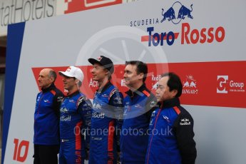 World © Octane Photographic Ltd. Formula 1 – Winter Test 1. Scuderia Toro Rosso STR13 Car Launch with Brendon Hartley, Pierre Gasly, Franz Tost, James Key and Honda representatives. Circuit de Barcelona-Catalunya, Spain. Monday 26th February 2018.