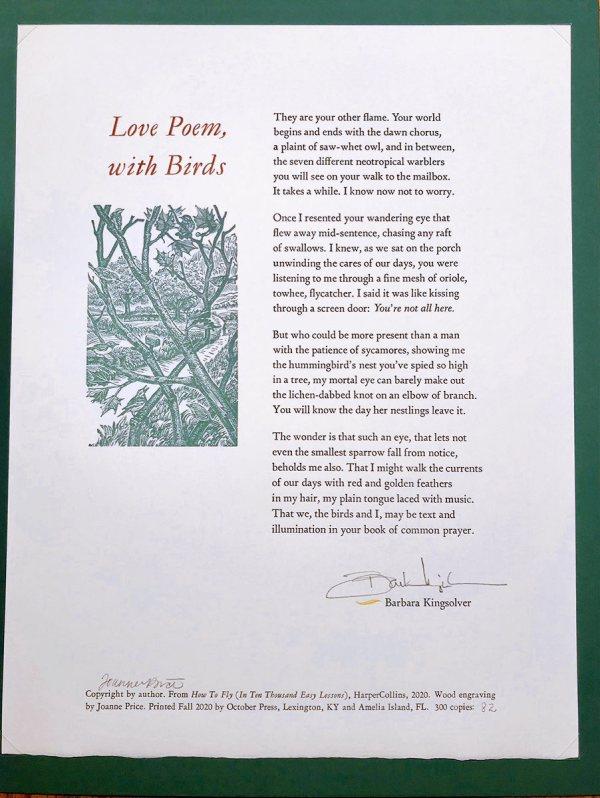 "October Press - ""Love Poem, with Birds"", 2020"