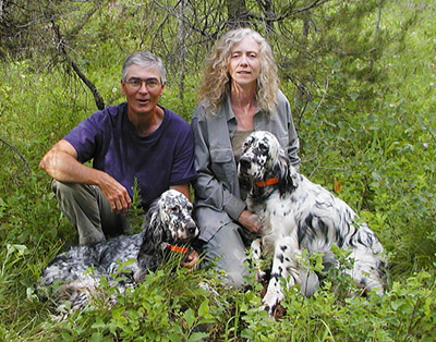 Cliff and Lisa Weisse. Breeders of classic foot hunting English Setters from Ryman and other close working bloodlines