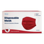 Red Disposable Protective 3Ply Face Mask Covering 50ct Box