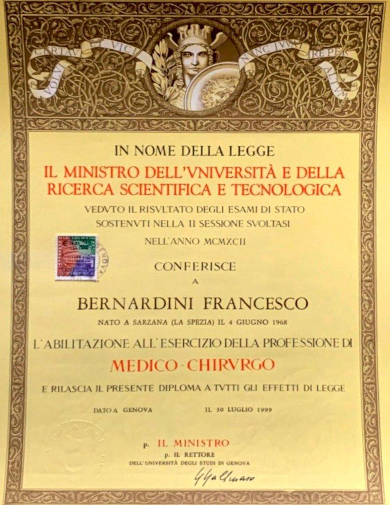 ABILITAZIONE ESERCIZIO PROFESSIONE MEDICO CHIRURGO 1999