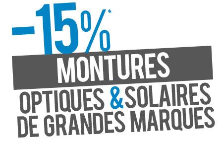 15% de remise sur les montures optiques et solaires