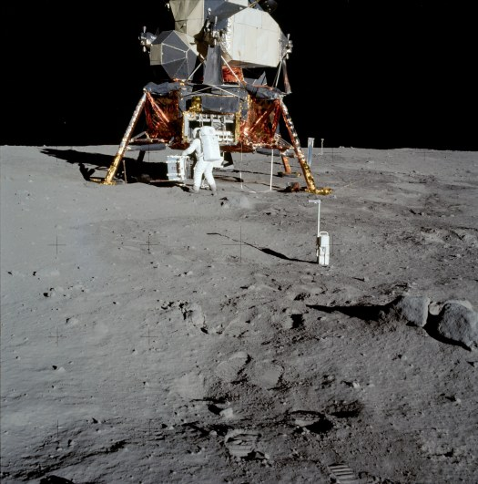 Apollo 11's Lunar Module, Eagle with Buzz Aldrin in foreground.