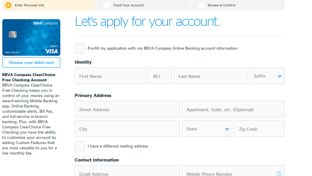 Fill in the BBVA Compass FreeChoice Checking Account Information