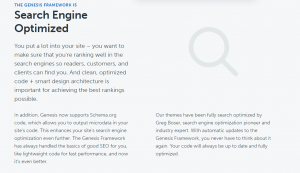The Studiopress Genesis Framework WordPress website themes are search engine optimized (SEO)