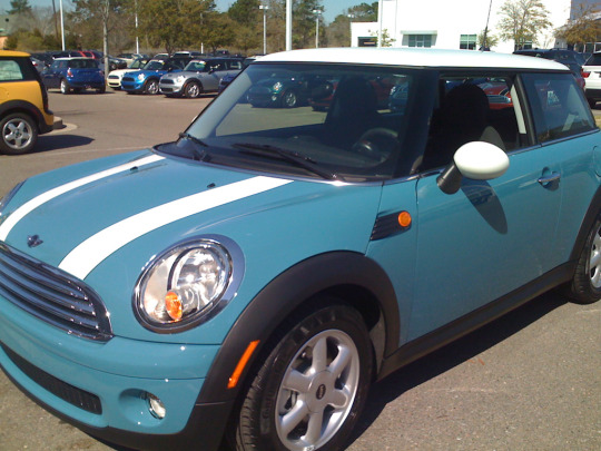 Picture of sky-blue 2009 Mini Cooper hardtop with white roof, mirrors, and stripes